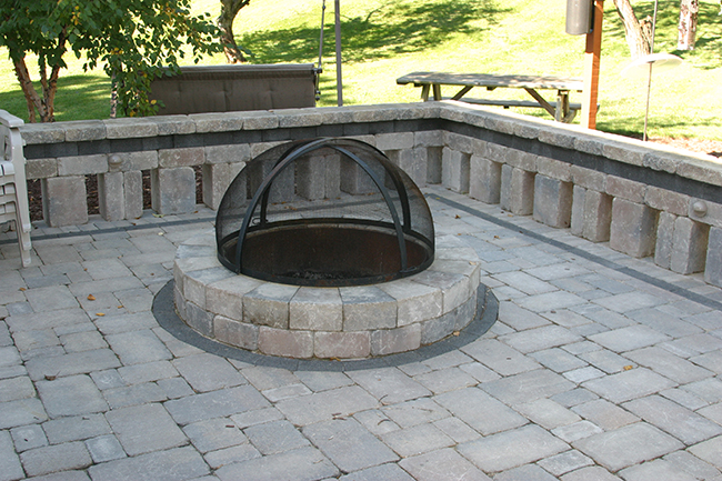 Firepit, Brick Paver Patio, Seating Wall