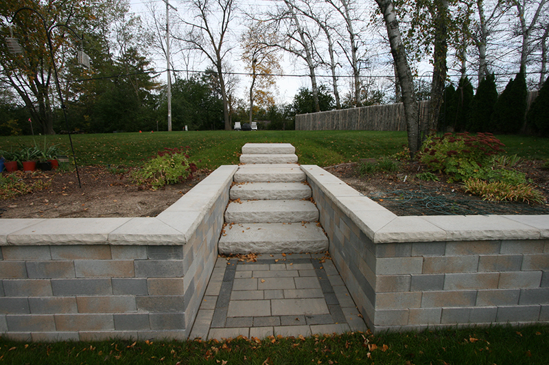 brick paver walkway and retaining wall