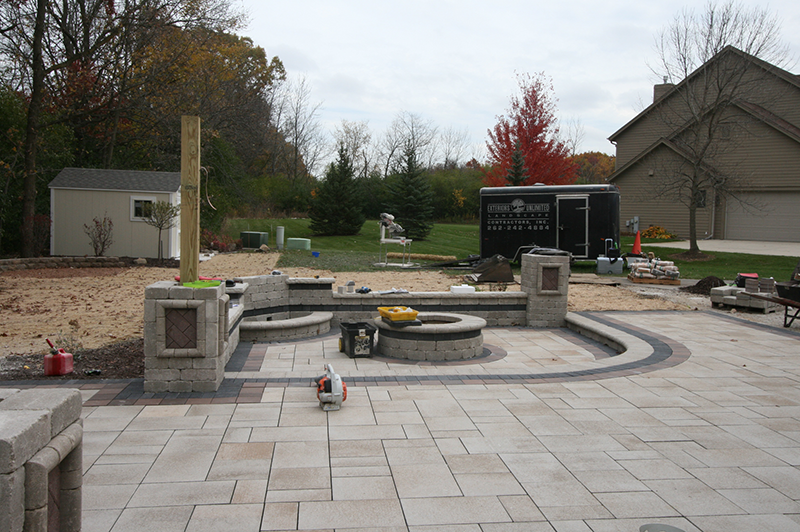 brick paver patio, firepit, seating wall brick paver patio, firepit, seating wall