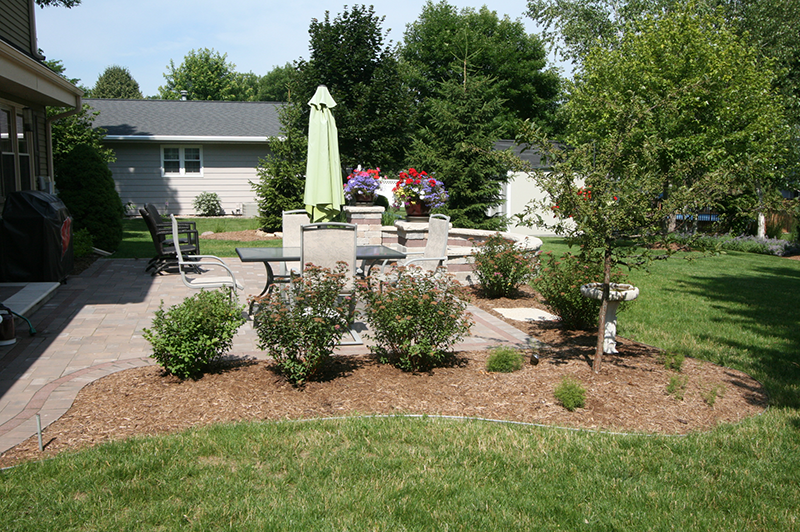 brick paver patio, landscaping