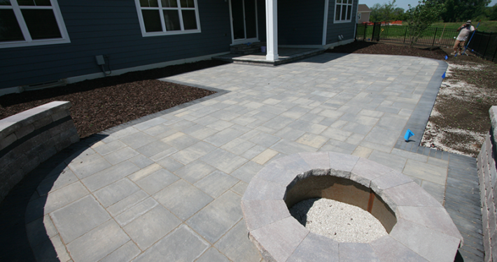 brick paver patio, firepit