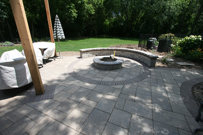 Brick Paver Patio, Firepit, Seating Wall