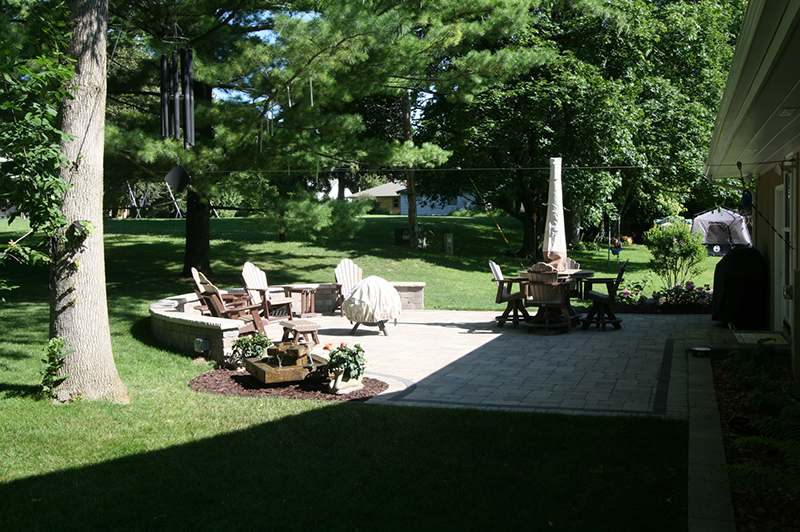 Brick Paver patio, seating wall, landscaping