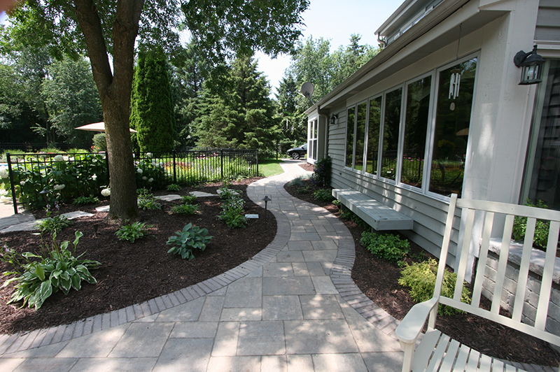 brick paver walkway and landscaping
