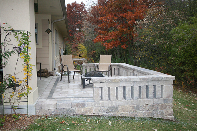 Paver Patio, and Seating Wall
