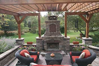 Outdoor Fireplace, Brick Paver Patio, Pergola
