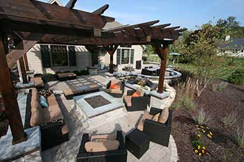 Outdoor Firepit, Brick Paver Patio, Pergola
