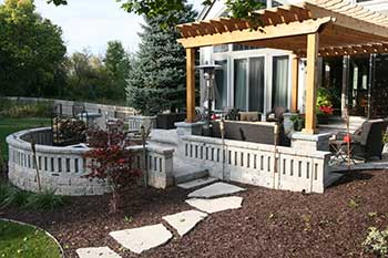 Brick Paver Patio, Seating Wall, Pergola