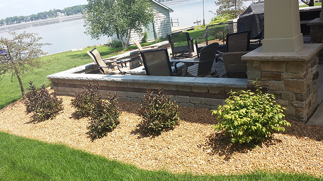Seating Wall, Paver Patio, and Plantings